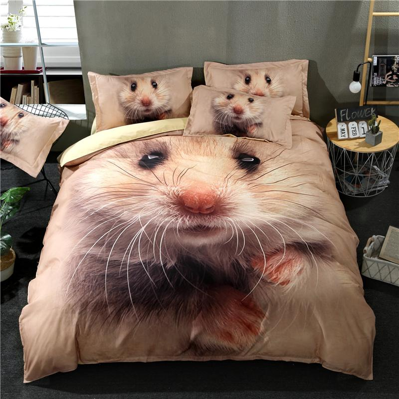 Copriletto Her Side His Side.2018 3d Cute Mouse Print Bed Cover 100 Polyester Microfiber Duvet