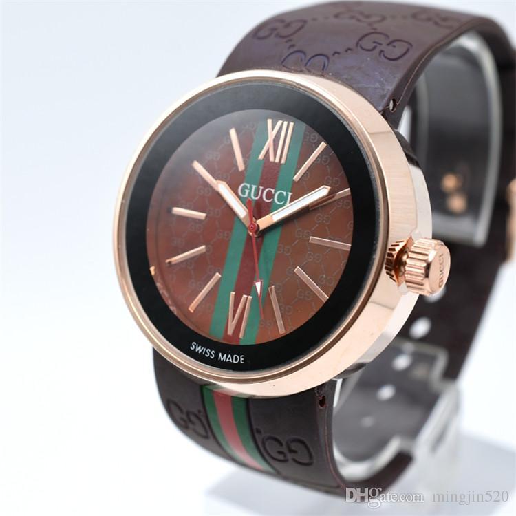 69e5b410654 Compre 2018 Relógios De Presente Dos Homens Marca De Luxo Relógio Esportivo  Homem De Borracha De Moda Relógio De Quartzo Das Mulheres Marrom 40mm  Relógio ...