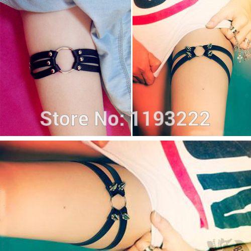 Wholesale Black Leather Spider Punk Gothic O Round Leg Garter Leg Loop Faux Leather HANDMADE Thigh Garter Belt Rings