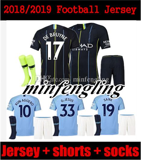 3f9d430a2 MAN City Soccer Jerseys 2018 2019 MAN City Adult Kit DZEKO KUN ...