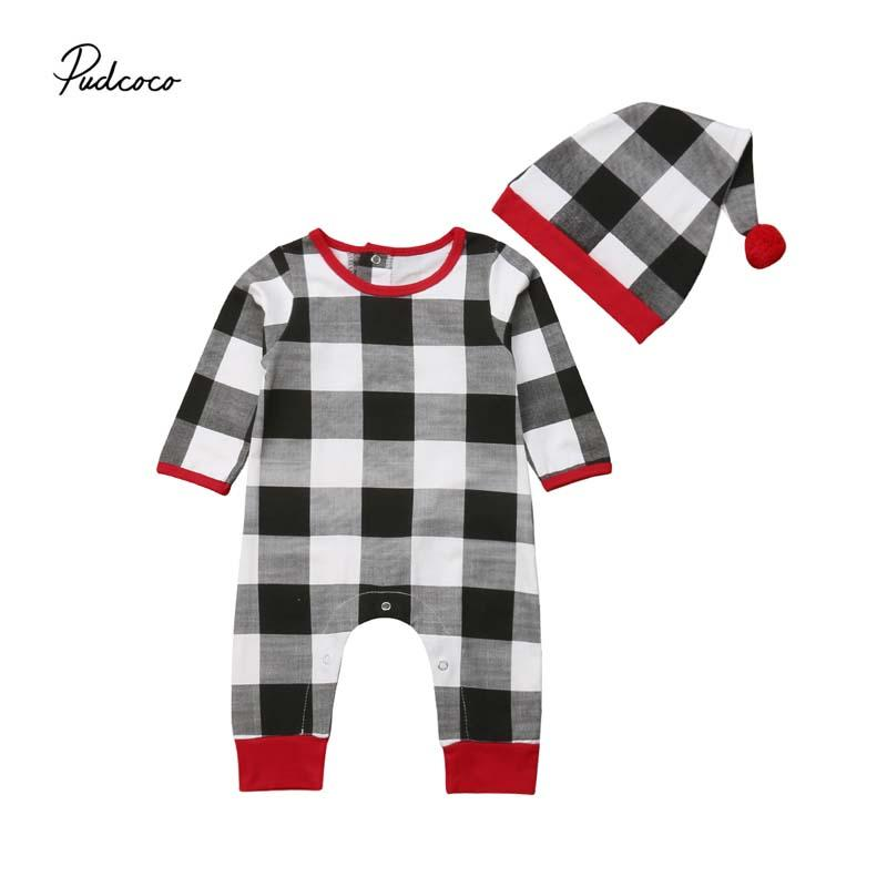 dd2ae22fa23 2019 Pudcoco Xmas Baby Rompers Newborn Baby Boy Girl Check Plaid Long  Sleeve Cotton Jumpsuit+Hat Clothes Outfit Set Christmas Costume From Hanlley