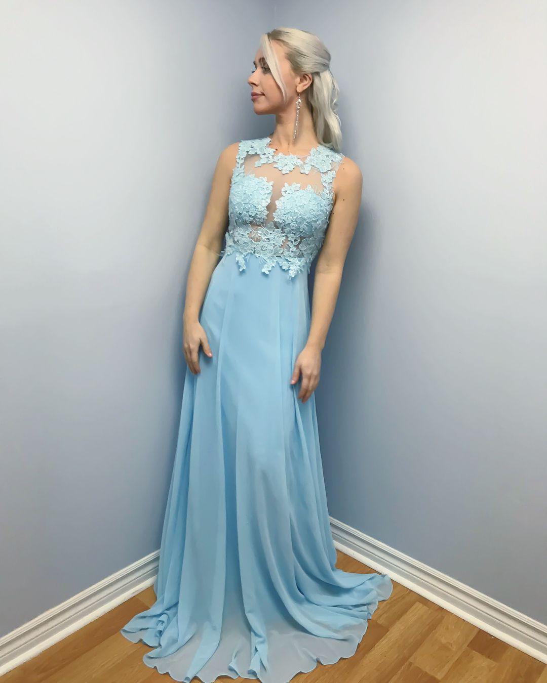Großhandel Elegante Sky Blue Lange Abendkleider Mit Spitze Juwel Sleeveless  Mantel Abendkleider Chiffon Formale Frauen Besondere Anlässe Prom Kleider