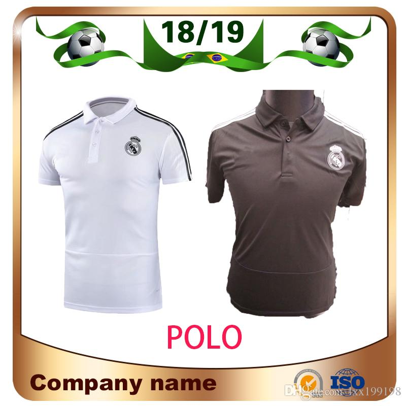 lowest price 7775a 14354 2019 Real Madrid Polo White Soccer Jersey 18/19 Real Madrid gray POLO Shirt  RAMOS MODRIC ASENSIO ISCO Football POLO Uniforms