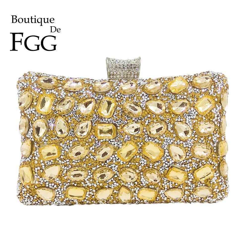 fcb5c8bc Boutique De FGG Elegante Hot-Fixed Mujeres Oro Cristal Noche Bolso Boda  Prom Rhinestones Bolso Embrague Minaudiere Bolsa Y18103003