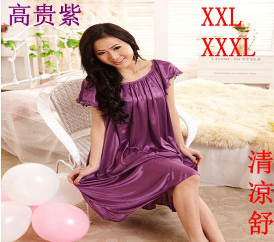 Summer sexy long silk nightgowns nightdress for women plus size ladies lingerie maternity sleepwear pregnant nightwear robes