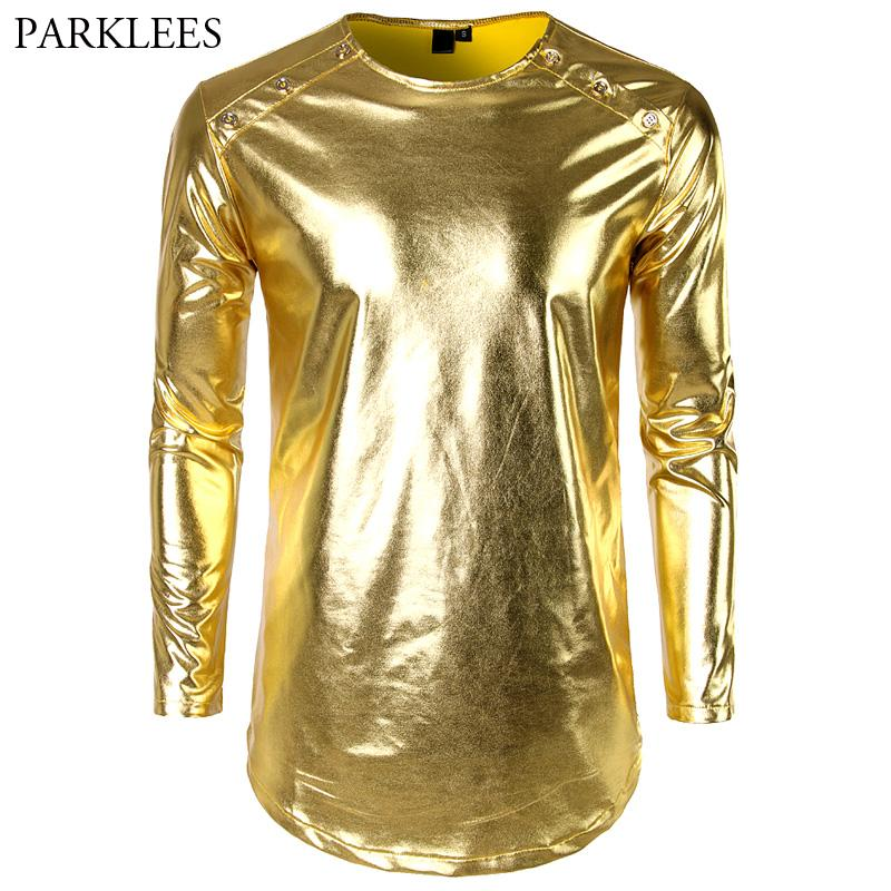 e224e441c1c44a Shiny Gold Metallic Longline T Shirt Men 2018 Brand New Night Club Mens T  Shirts Casual O Neck Hip Hop Top Tees Party Dance Show Tee Designs Neck T  Shirts ...
