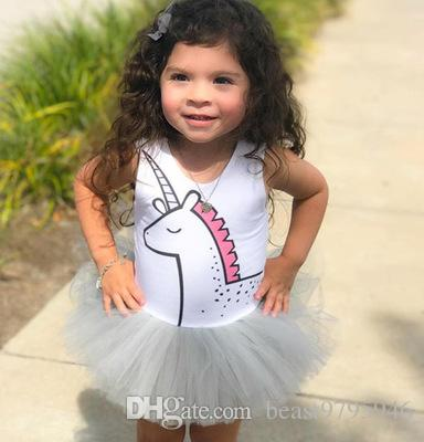 7834fb2a4c580 Cute Newborn Baby Girl Romper 2018 Summer Cartoon Unicorn Sunsuit ...