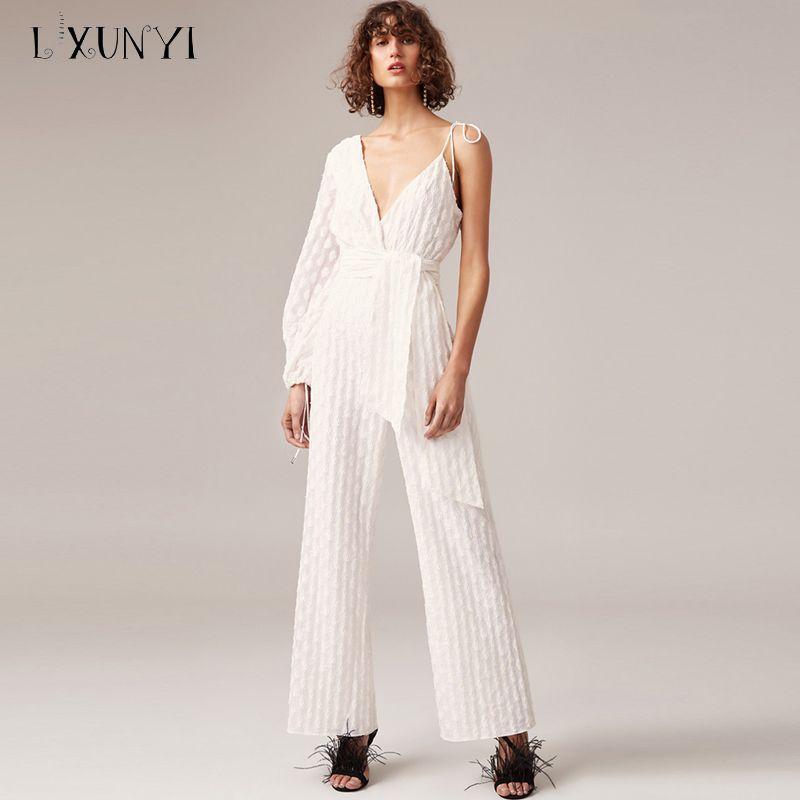 b905b8b6df0 LXUNYI 2018 Spring Autumn White Polka Dot Jumpsuit Women Long Off Shoulder  Long Sleeve Jumpsuits Rompers Elegante Negro Sashes