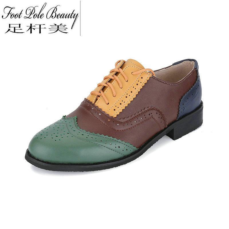 555b5e2c936 Compre 20 Opciones De Color Combinación De Colores Zapatos Oxford De Cuero  Genuino Para Mujer Con Cordones Zapatos Redondos Grandes Para Calzado De  Piel De ...