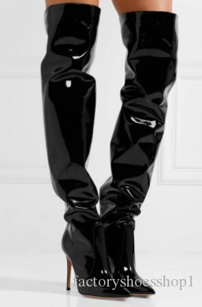 2018 fashion women glitter thigh high booties patent leather long booties thin heel slip on boots over knee tall gladiator botas