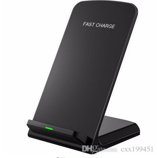 Quick Charge Wireless Fast Charger 2 Coils Stand Pad For iphone x Samsung S8 all Qi-support Smart phone