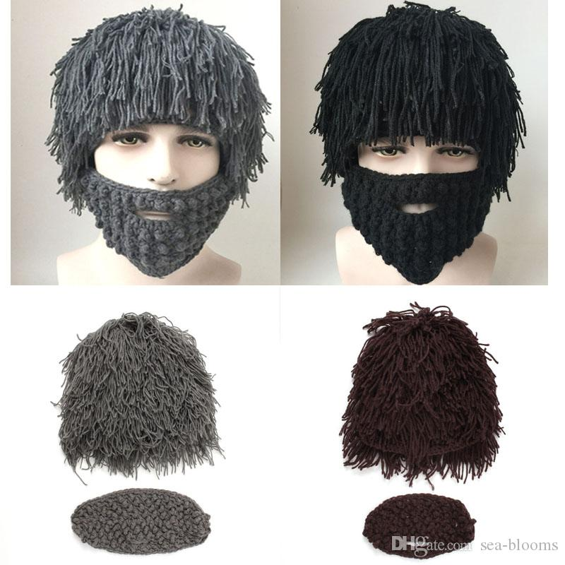8ffd169e453 Winter Fashion Wig Beard Hats Cosplay Mad Scientist Rasta Caveman Knit Warm  Cap Men Halloween Gift Funny Party Mask Beanies Free DHL D353S Fedora Hat  ...