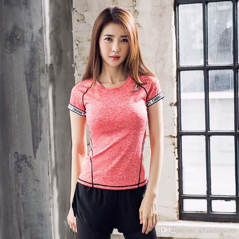 32771b1d44e2f4 Silanda Frauen Fitness Yoga Top Gym Kompression Weibliche Sport T Shirts  Laufen Tops Kurzarm Lady Tees mit Kostenlosem Shippping