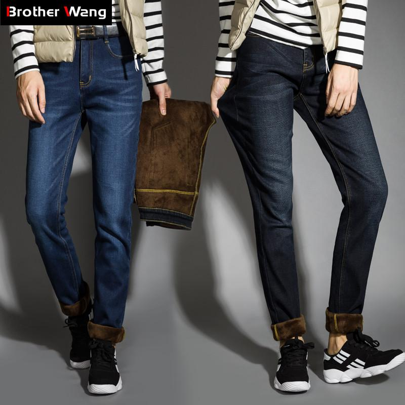 4ca9b76622 2019 2018 Winter New Men S Warm Black Jeans Plus Size Slim Fit Elastic Denim  Trousers Male Fleece Thick Section Jeans Pants Brand From Jingju