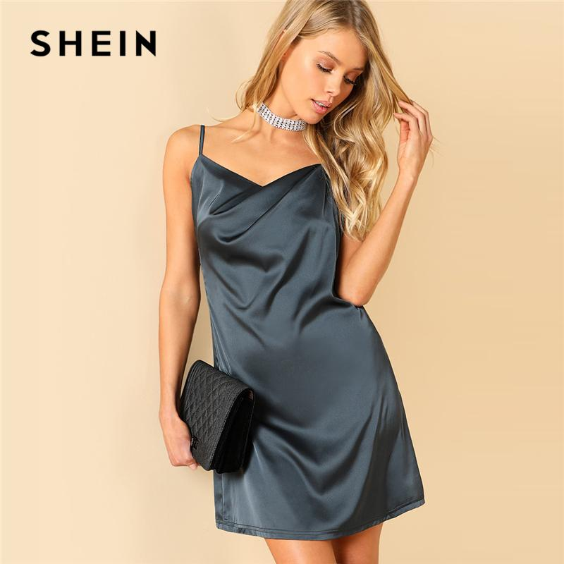2019 SHEIN Open Back Solid Cami Dress Spaghetti Strap Sleeveless Sexy Slip  Short Dress 2018 Summer Women Grey Beach Party From Cailey 065360d3d