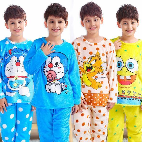 cf300143aa 2018 Winter Children Fleece Pajamas Warm Flannel Sleepwear Girls Boy  Loungewear Coral Fleece Kids Pijamas Homewear Winter Pyjama Y18102908  Cotton Pjs For ...