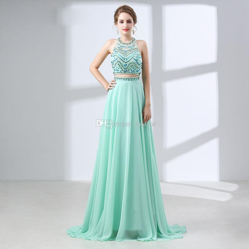 5c8d315bd36 2018 Modern Jewel Neck Two Pieces A Line Prom Dresses Mint Chiffon Shining  Beadings Evening Gowns Crystal Long Formal Backless Party Dresses Cheep Prom  ...