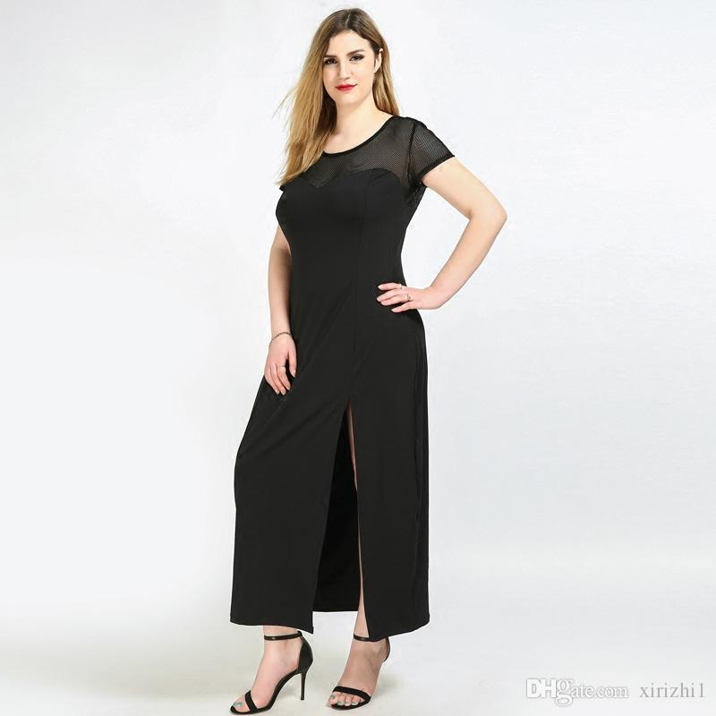 d132d7a500 Plus Size Formal Maxi Dresses Black Full Length Side Split Short Sleeve  High Quality Lace Evening Dress For Fat Women Full Length White And Blue  Dresses For ...