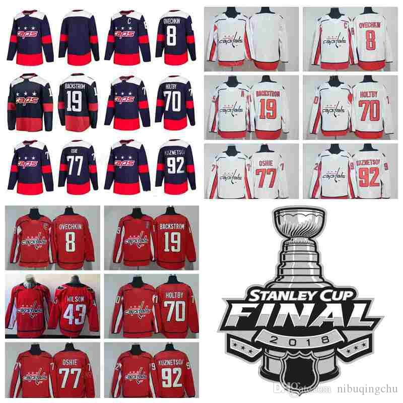 429df9edc 2018 2018 Stanley Cup Finals Washington Capitals 8 Alex Ovechkin 19 Nicklas  Backstrom Jerseys 77 TJ Oshie 92 Evgeny Kuznetsov 70 Braden Holtby From ...