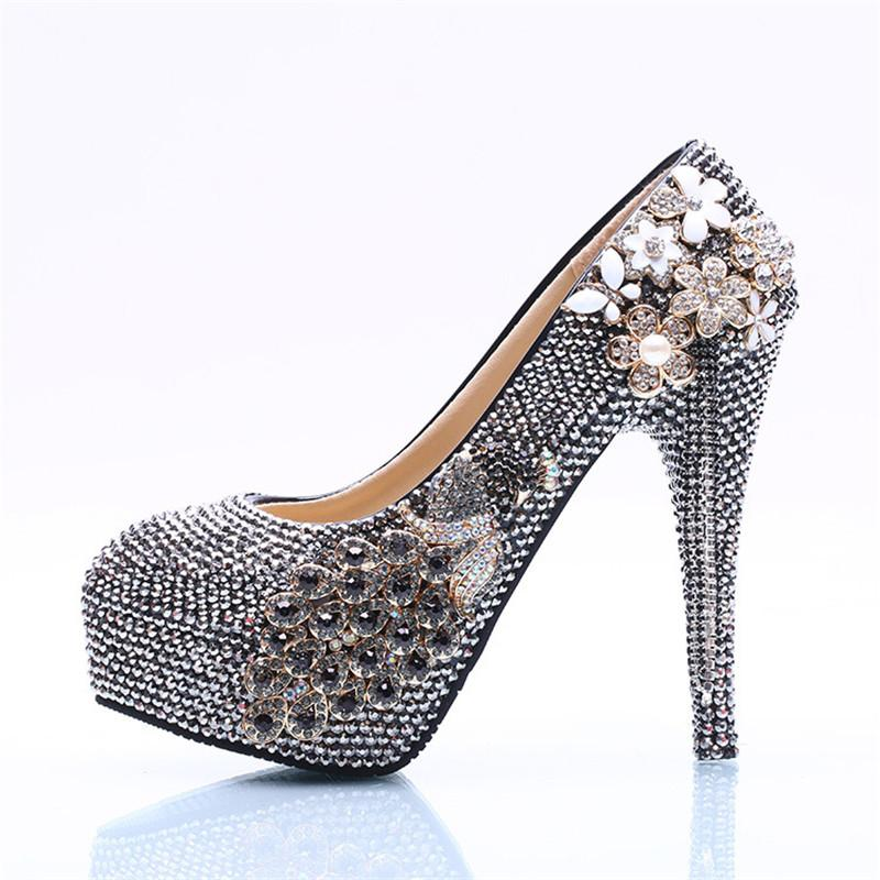 db22a984c5 AB Black Crystal Custom Handmade Sparkle Bling Rhinestone Round Head Big  Size Bride High Heel Peacock Decorate Wedding Shoes