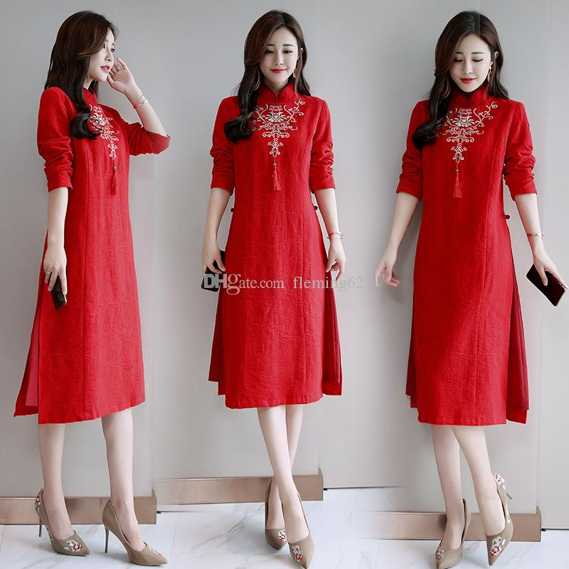 dbc125196d Summer Spring Dress For Women Ethnic Style Long Sleeve Women Causal Dress  Black Red Loose Cotton Linen Vintage Vietnam Ao Dai Gown Clothing Dress  Cocktail ...
