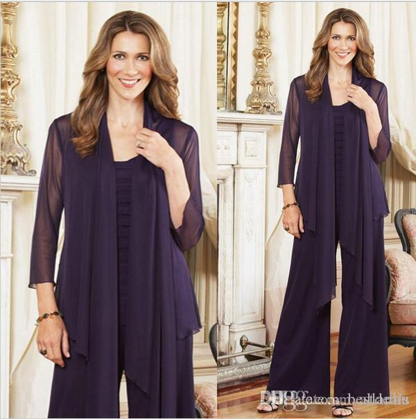 2018 Elegant Purple Plus Size Mother Of The Bride Pants Suits With Jacket Womens Chiffon Long Sleeve Mother Formal Dress For Wedding