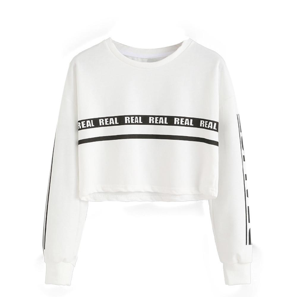 Harajuku Sweatshirt Women Fashion Autumn White Letter Print Sweatshirt  Kawaii Crop Top Sudaderas Mujer 2019 Moletom Feminina Online with   33.27 Piece on ... ecfe2a8df7aa