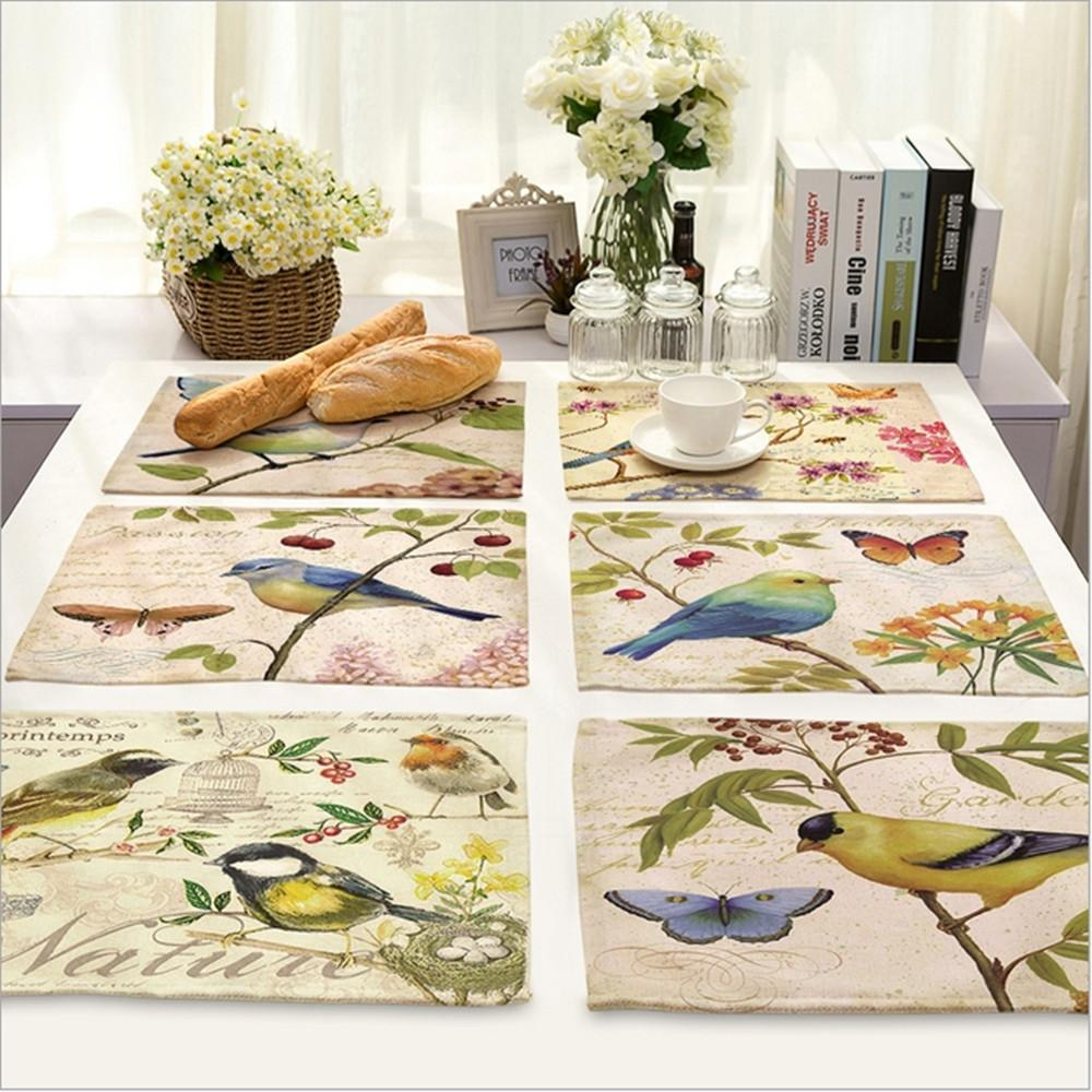 2019 Wholesale Home Decor Hand Painted Bird Placemat Linen Fabric Table Mat Dishware Coasters For Kitchen Accessories Wedding Party Decoration From Goutour
