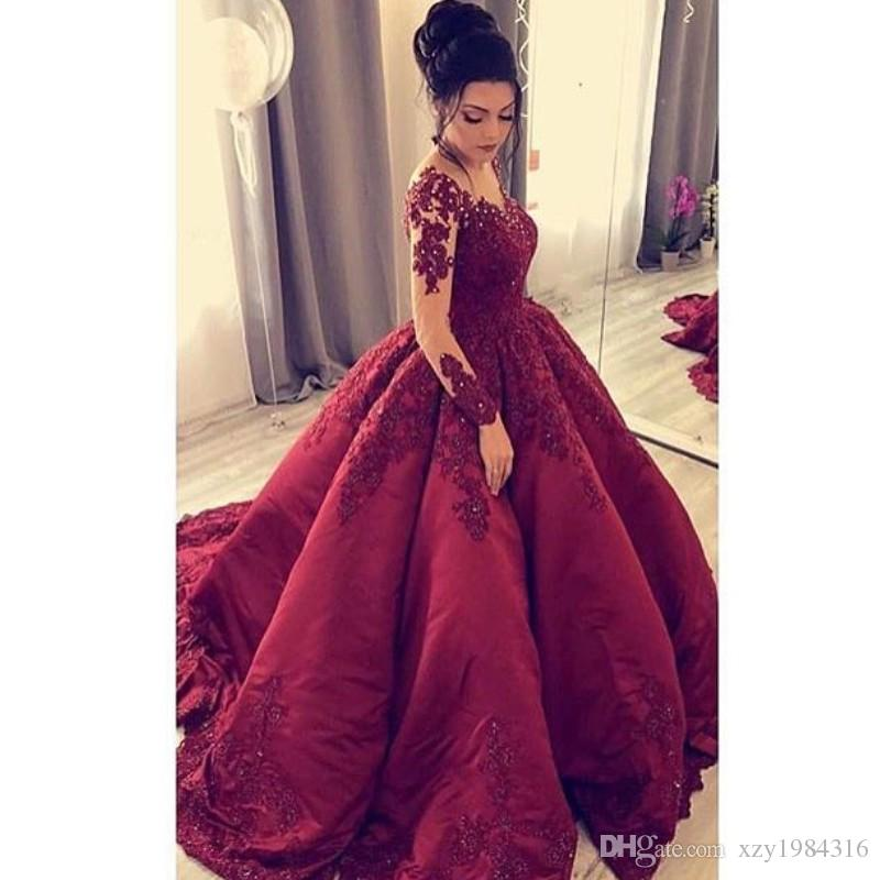 6f76de0f40 Saudi Arabia Long Sleeve Prom Dress V Neck Beads Lace Applique Ball Gown  Party Dresses Charming Fluffy Tulle Evening Dress Celebrity Gown Prom  Dresses For ...