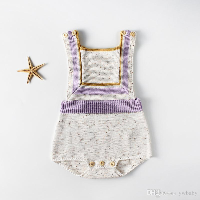 2019 Baby Rompers Newborn Kids Girls Knit Panelled Jumpsuits Bebe