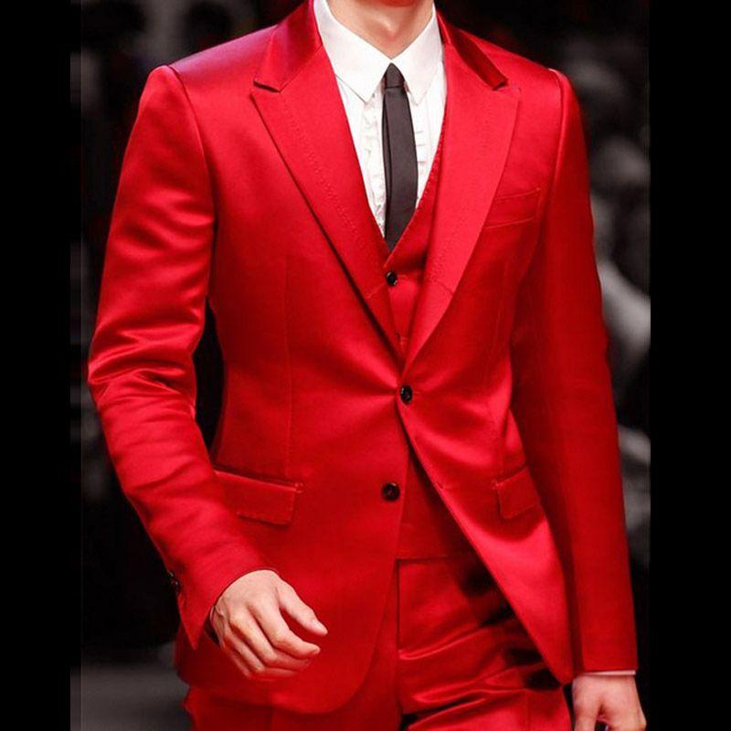 Acheter Costume Mariage Homme Hommes Costumes Pour Mariage 2018 Custom Made  Rouge Marié Costumes Pour Le Dîner Soirée Robe De Soirée Terno Masculino  2017 De ... 2610435c6ef