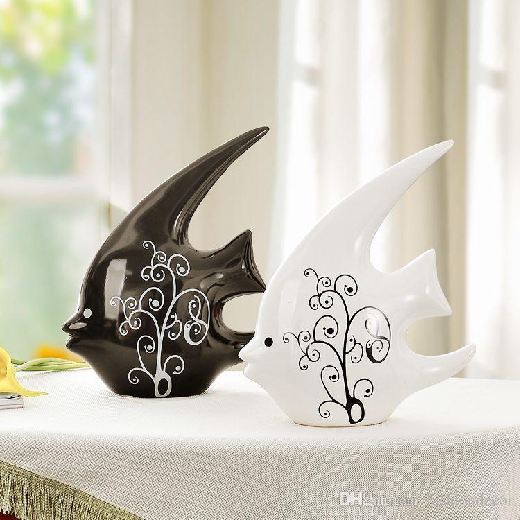 Jingdezhen керамическая пара поцелуи рыбы статуэтки рыбы поцелуй белый и черный украшения современный минималистский свадьба свадебный подарок украшения