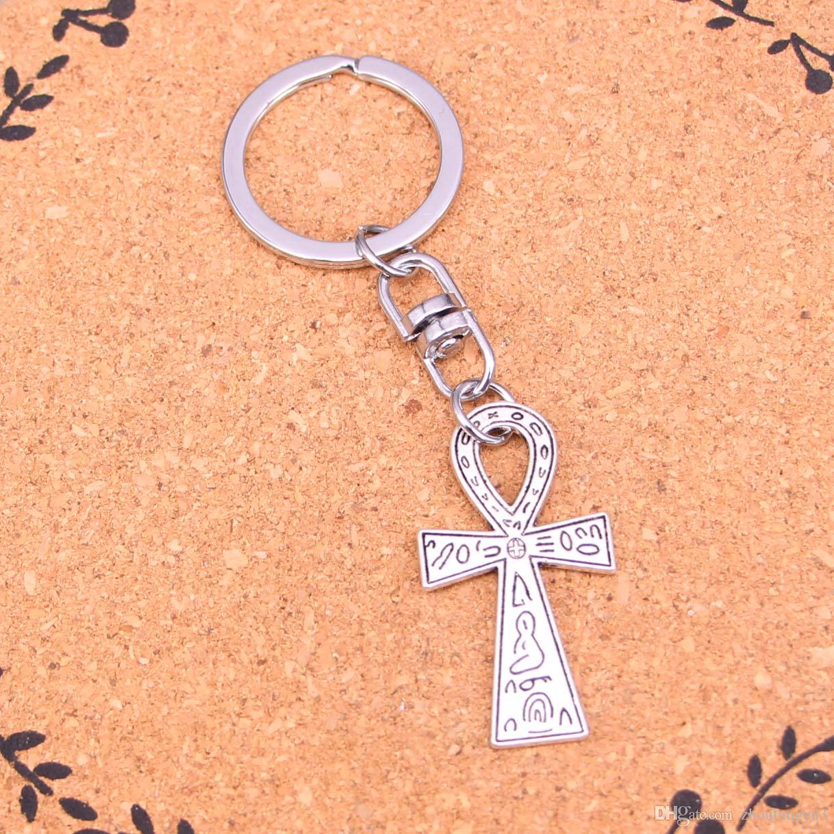 New Design egyptian ankh life symbol Keychain Car Key Chain Key Ring silver pendant For Man Women Gift1
