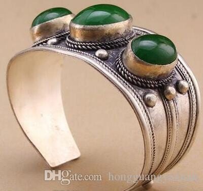 Unisex Vintage Oval Verde Jade Pedra Bead Cuff Bracelet Bangle Tibet Prata