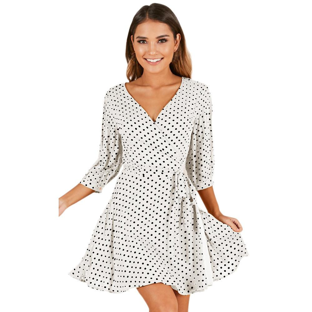 6254a5c185 Robes Femme 2019 Ete Womens Wave Point Printing Half Sleeve Casual Mini  Dress Fashion Sexy Ladies Dresses Vestidos De Festa White Dress For Teens  Red And ...