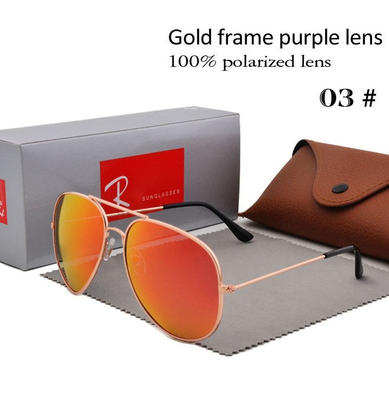 Brand Designer Polarized Sunglasses Classic Pilot Sun glasses for Men Women Driving glasses UV400 Metal Frame Flash Mirror polaroid Lense