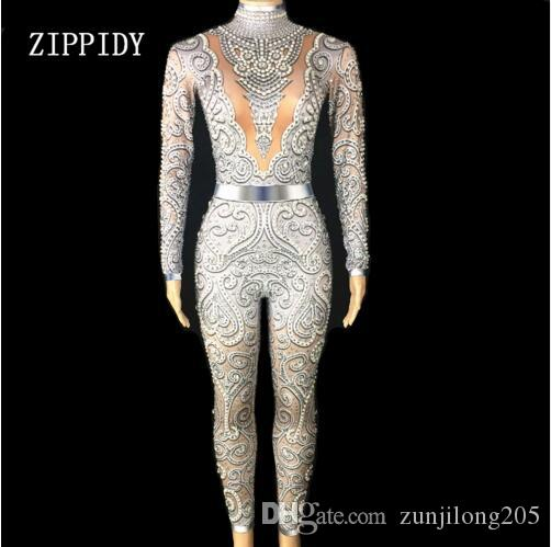 2019 2018 New Silver Crystals Jumpsuit Long Sleeves Birthday Celebrate  Outfit Stretch Sexy Bodysuit Stage Performance Dance Rompers From  Zunjilong205 dfa8d477deb3