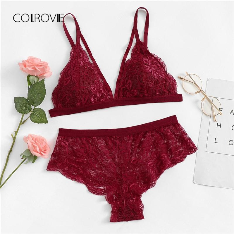 36aa763366 2019 Wholesale Burgundy Solid Sexy Floral Lace Lingerie Set 2018 New Women  Bra  Amp  Brief Sets Wireless Sexy Underwear Bra Set From Jinggongcoat
