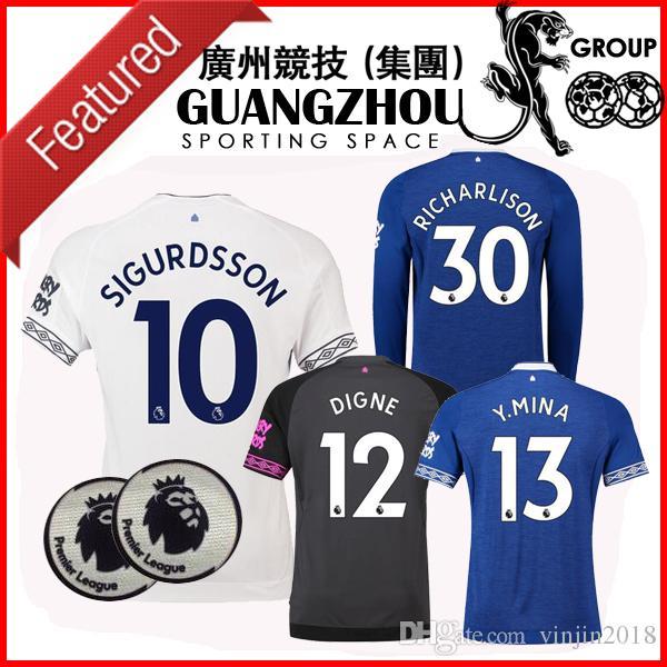18 19 Walcott Everton Manga Larga Negra Camisetas De Fútbol THIRD . 79a1564d2b880