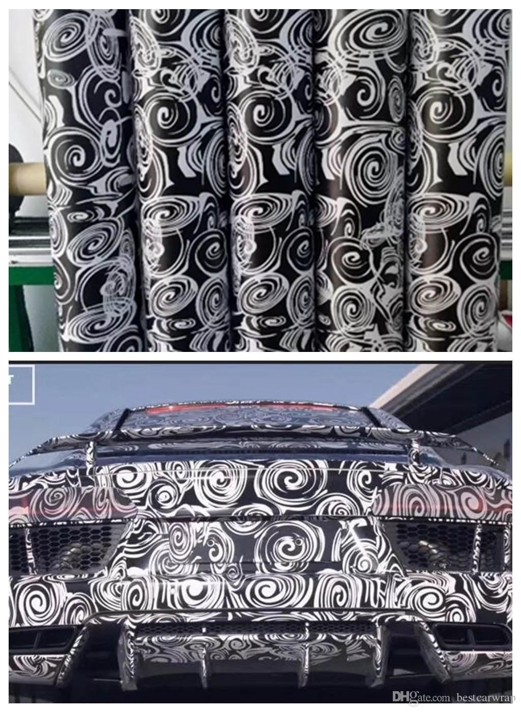 Impressive White black Camo Vinyl For Car Wrap With air bubble Free Printed / PAINTED Camouflage Car wrapping stickers 1.52x10m/20m/30m Roll