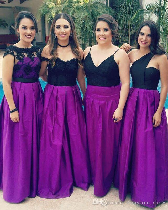 de9a9de4fc65 Country Style A Line Black And Purple Bridesmaid Dresses Cheap Satin Wedding  Party Gowns Maid Of Honor Dresses UK 2019 From Wangtrun_store, ...