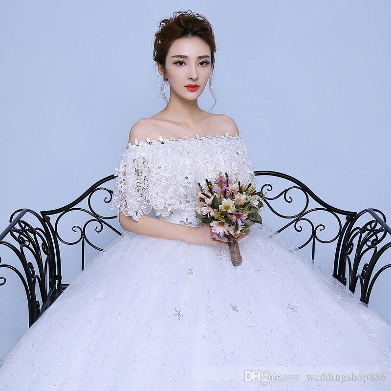 Wedding Dresses 2018 white Lace Appliques Beaded off shoulder Pictures Real Plus Size ball gown Custom made Long Prom Party Dress Hot Sale