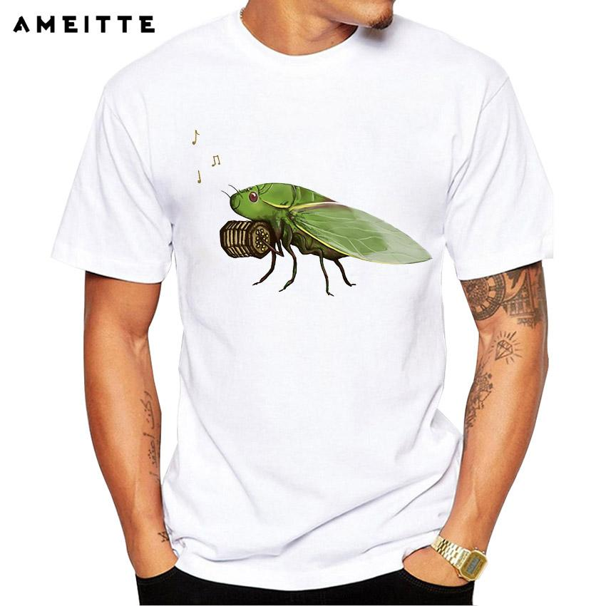 Funny Cicada Playing A Squeezebox T-shirt Fashion Lovely Insect Printed T  Shirt Men High Quality Geek Style Streetwear Tops Tee