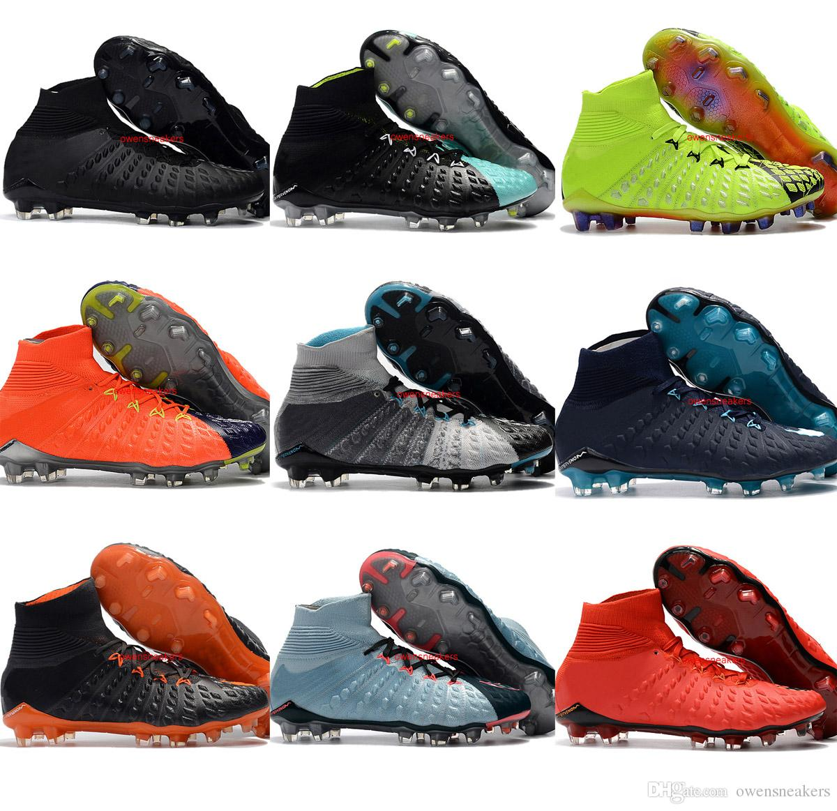 quality design b7884 b4197 Mens High Top Football Boots Hypervenom Phantom III DF FG Soccer Shoes  MagistaX Superfly Outdoor EA Sports Cleats Neymar