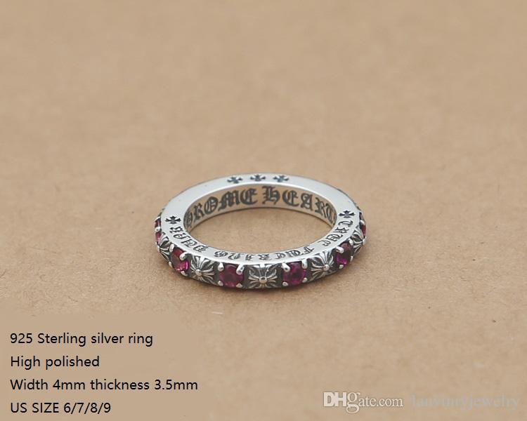 العلامة التجارية الجديدة 925 جنيه استرليني من الفضة الأزياء والمجوهرات خمر حلقات مصمم النمط الأوروبي الأمريكية بالحجارة هدية لطيفة الشحن المجاني