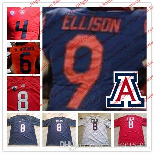 705cd31cf 2019 NCAA Arizona Wildcats  4 Rhett Rodriguez 6 Shun Brown 9 Tony Ellison  21 JJ Taylor 8 Foles College Football Jerseys Navy Blue Red White S 4XL From  ...