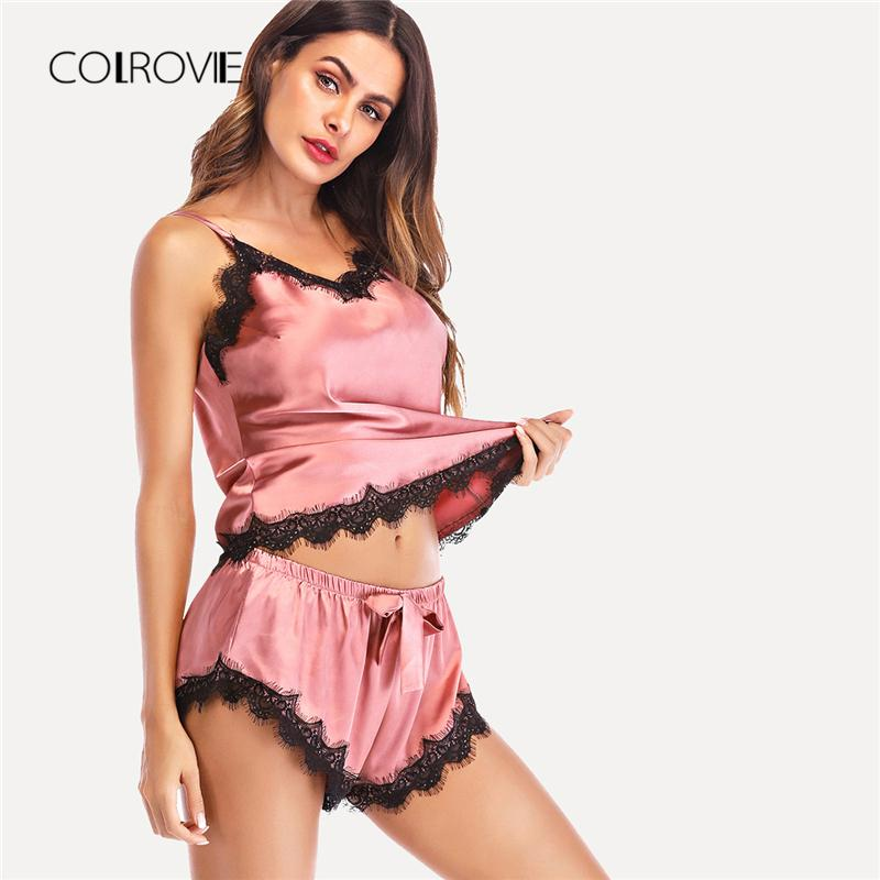 31367c9a46 COLROVIE Pink Floral Lace Knot Cami Top   Shorts Sexy Women Pajama ...