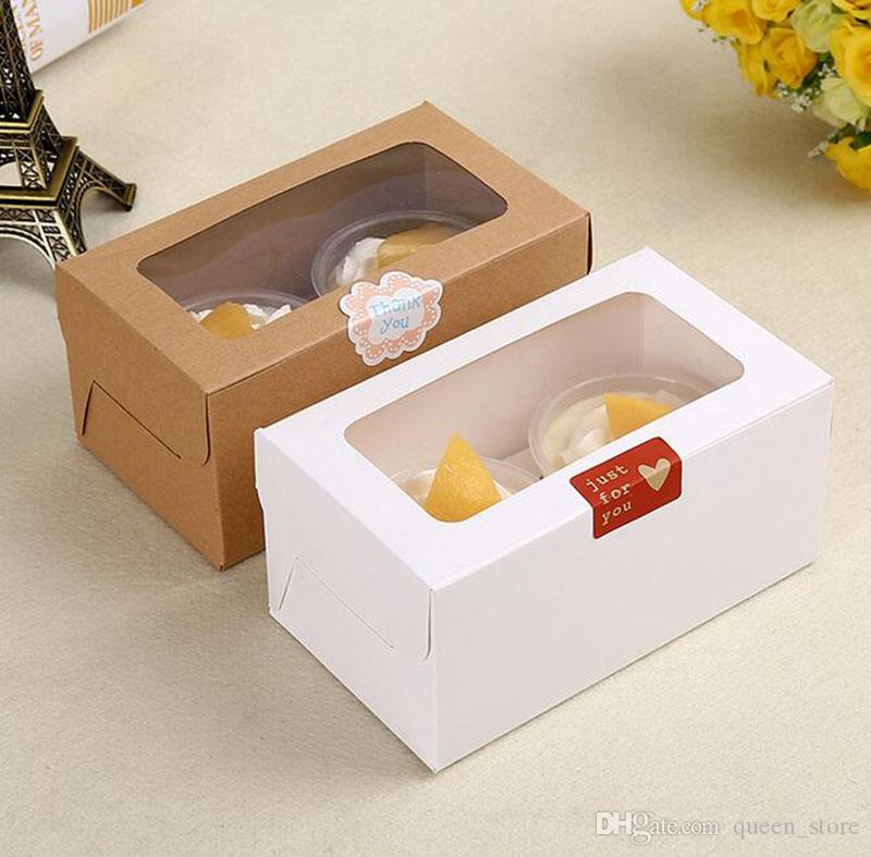 Wholesale 2 Holes Cupcake Muffin Box Cake Cup Packaging White Kraft Paper Bottom Bracket Pudding Pastry Marvin Boxes
