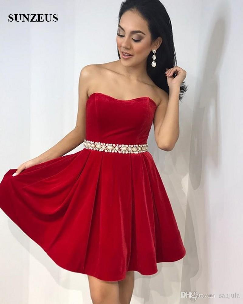 Red Velvet Prom Dresses 2018 Short Party Gowns For Girls A-line Sweetheart Beaded Waistline galajurken vestido de baile