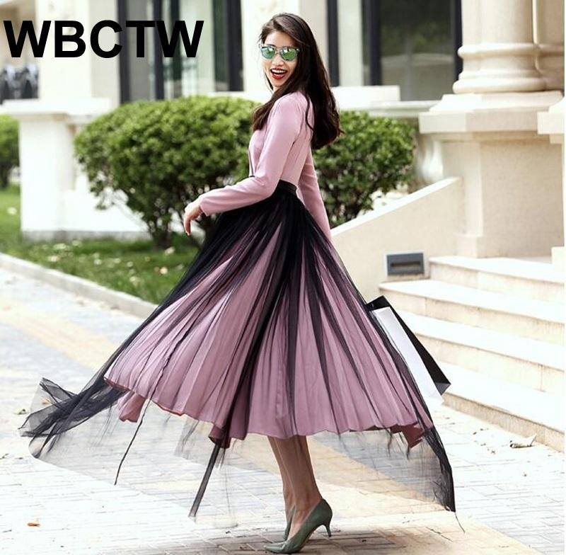 088a6bf339b 2019 WBCTW Maxi Tulle Skirts XXS 10XL Plus Size 2018 Autumn Spring PU Waist  Black Runway Skirts Women Party Wear Long Bandage Skirt From Vickay